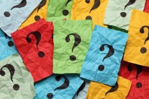 Crumpled question marks heap